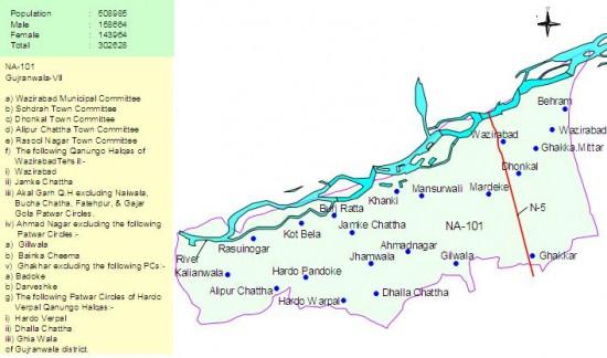 NA-101 Gujranwala Constituency Map - Wazirabad, Dhonkal, Alipur Chatha, Rasool Nagar, Badoke
