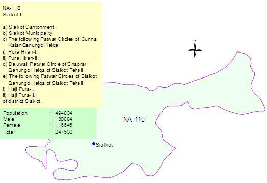 NA-110 Sialkot Constituency Map - Sialkot City
