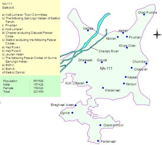 NA-111 Sialkot Constituency Map - Kotli Loharan Ugoki