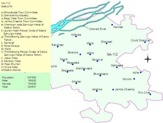 NA-112 Sialkot Constituency Map - Bhopalwala, Sambrial