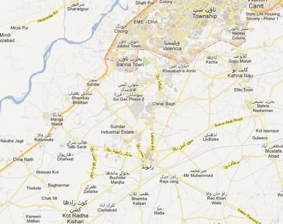 NA 128 Lahore Detail Street Map - Raiwind, Chung, Thokar,, Gia Bagga, Manga, Bahria Town
