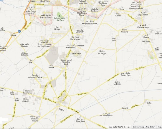 NA 129 Lahore Detail Street Map - Raiwind, Kahna, Jia Bagga, Ladheke