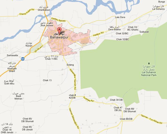 NA185 Map Bahawalpur City Cantt Dera Bakha Chak 32BC