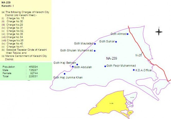 NA 239 Karachi Consituency Map - Goths