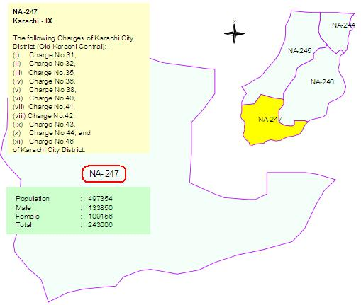 NA 247 Karachi Constituency Map