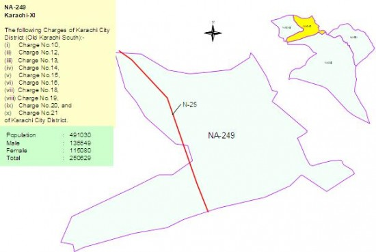 NA 249 Karachi Constituency Map