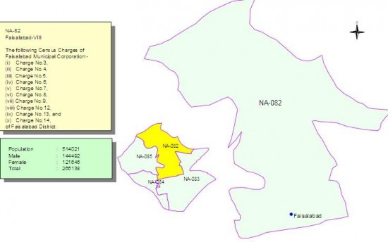 NA-82 Faisalabad Constituency Map