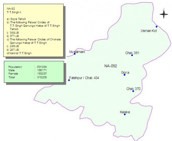 NA-92 Toba Tek Singh Constituency Map - Gojra