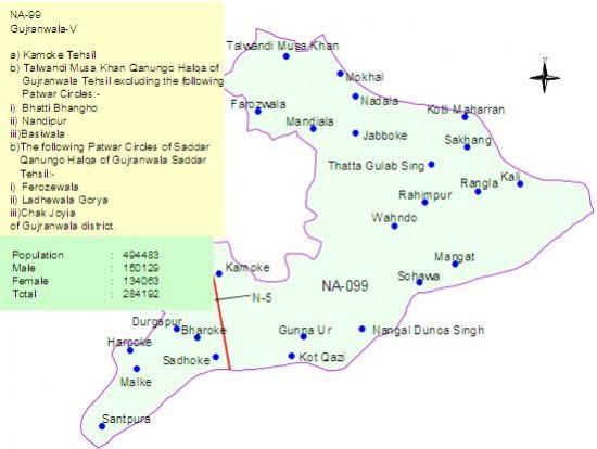 NA-99 Gujranwala Constituency Map - Kamoke, Nadipur, Wahndo, Talwandi Musa Khan, Sadoke