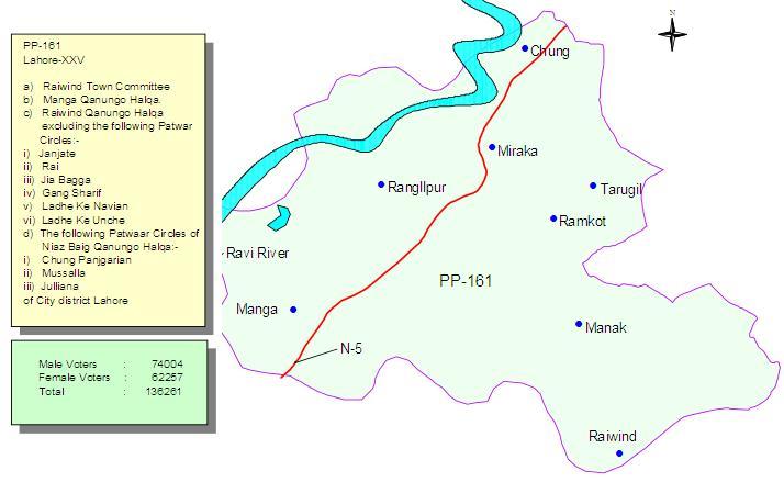 PP-161 Lahore Constituency Map - Raiwind City, Chung, Manga