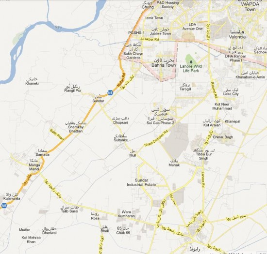 PP-161 Lahore detail Street Map - Raiwind, Chung, Manga, Bahria Town
