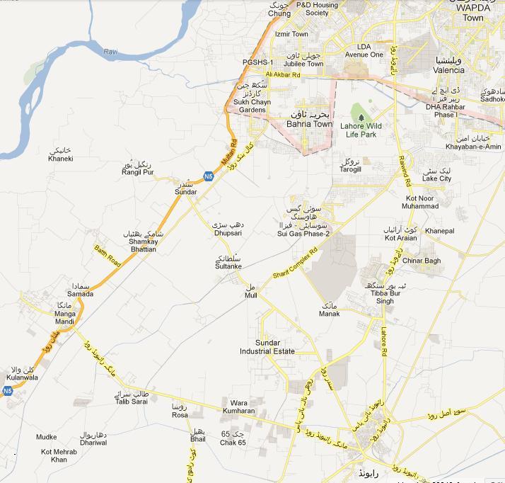 PP-161 Lahore detail Street Map - Raiwind, Chung, Manga