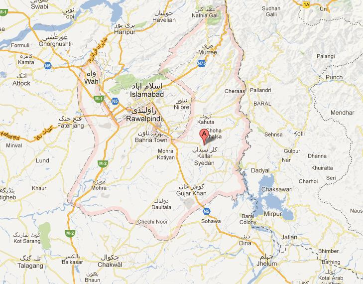 Rawalpindi Distric Map Detail with Tehsils