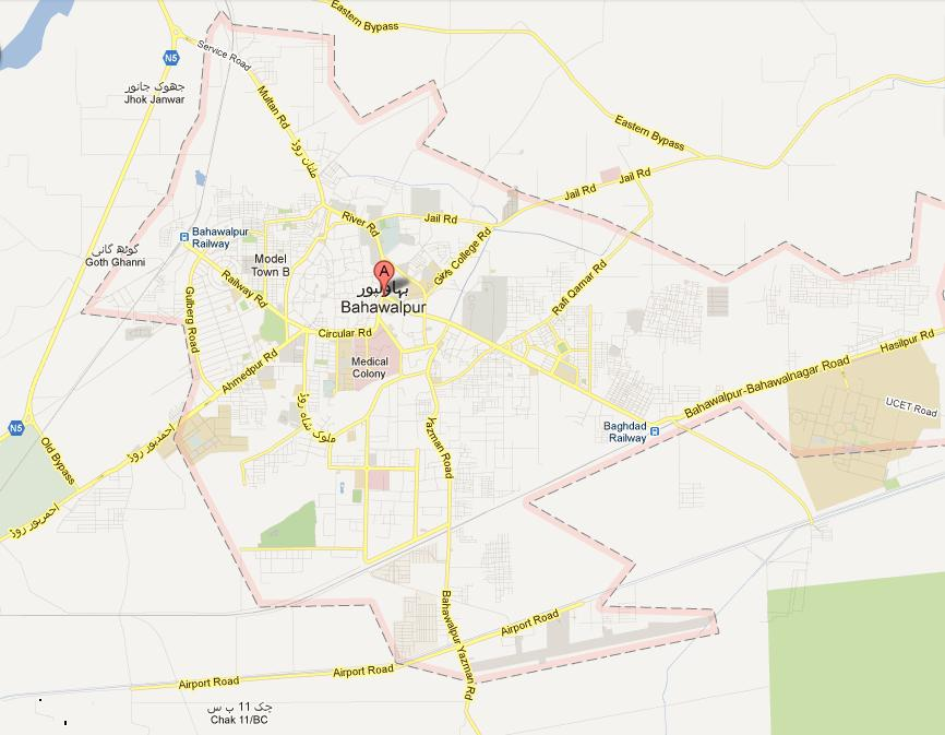 Street Map Bahawalpur City NA 185 Consituency
