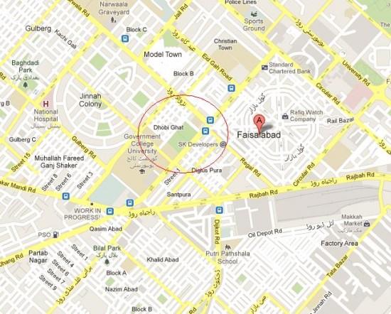 Location Map Dhobi Ghat Faisalabad
