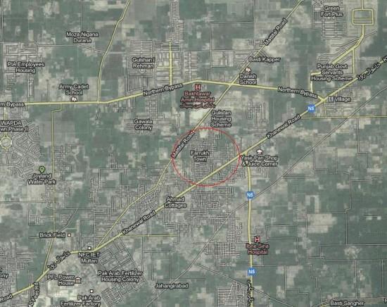 Location Map Farrukh Town Multan