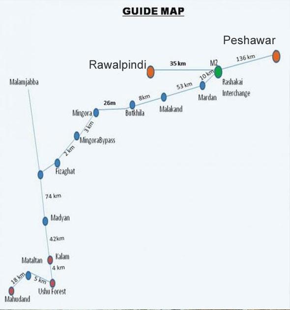 Swat - Kalam,  Mahudand Lake Guide Map