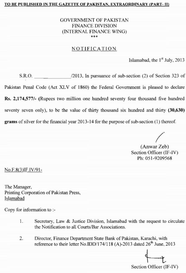 Internal Finance Wing Notification for Diyat 2013-14