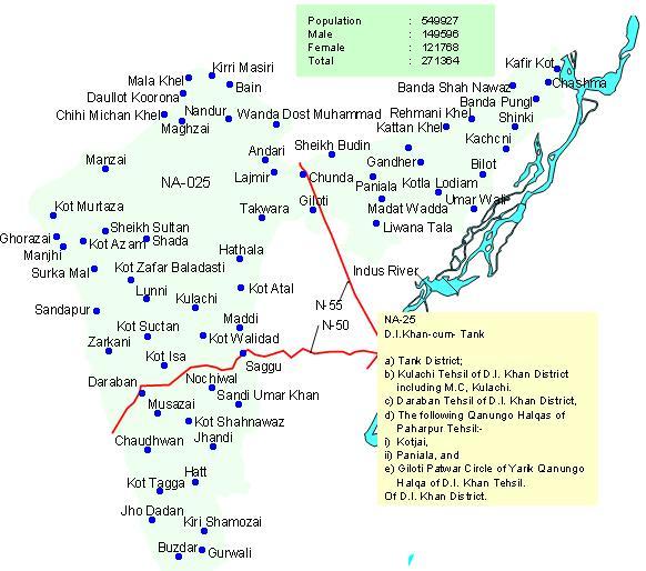 Map NA 25 D I Khan - Tank