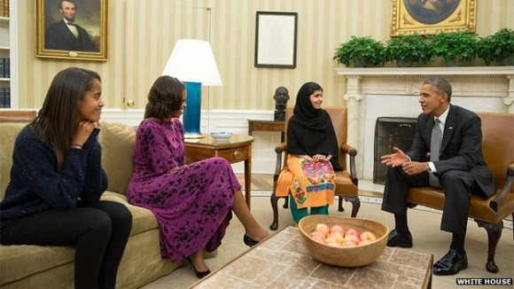 Malala in White House with President Obama and his Family