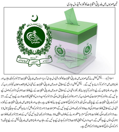 Sindh, Punjab, Balochistan Local Government Elections Schedule 2013