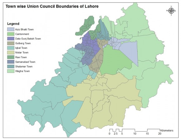 Town Wise Union Councils in Lahore (Old # of total UCs 151)