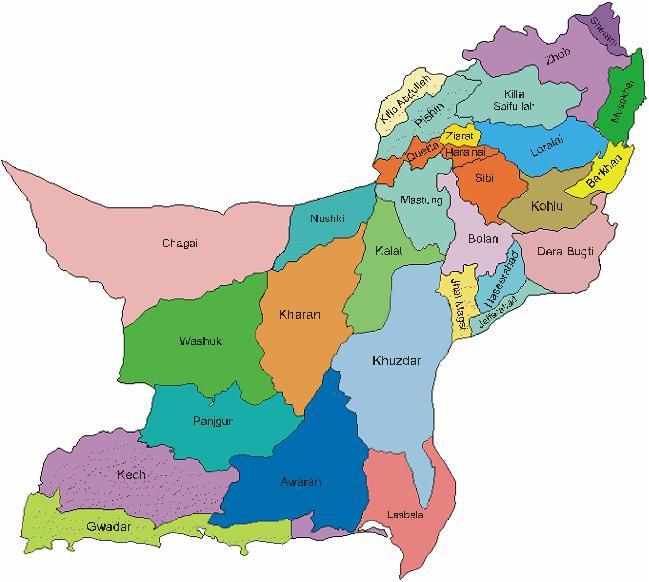 Balochistan Map District Wise