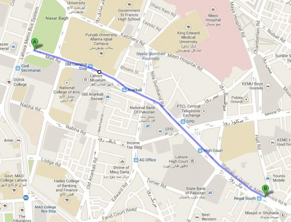 Imran Khan Rally Route Map From Nasir Bagh to Masjid e Shuhada Lahore