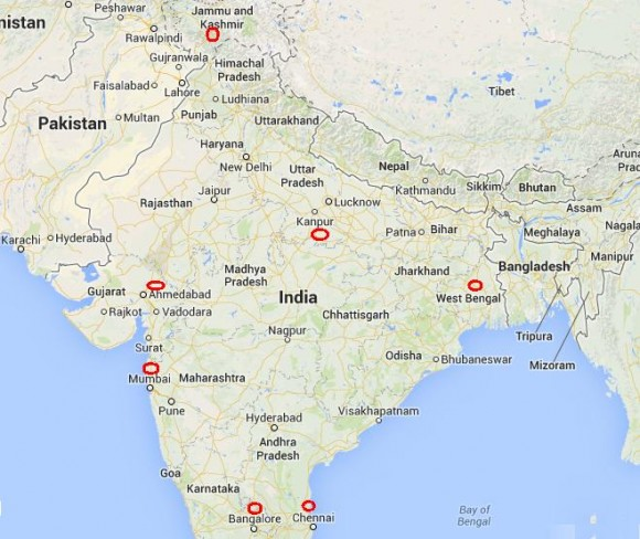 India Map with Tahirul Qadri Cities to Address