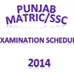 Punjab SSC-Matric Exam Schedule 2014