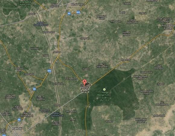 Changa Manga Forest Location Map, Near Pattoki District Kasur