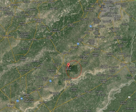 Changa Manga Forest Location Map, between Okara and Lahore
