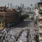Dawoodi Bohra Muslims in Buran uddin Bohra funeral procession in Mumbai