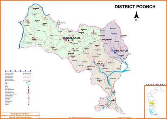 District Poonch Azad kashmir Detail Map