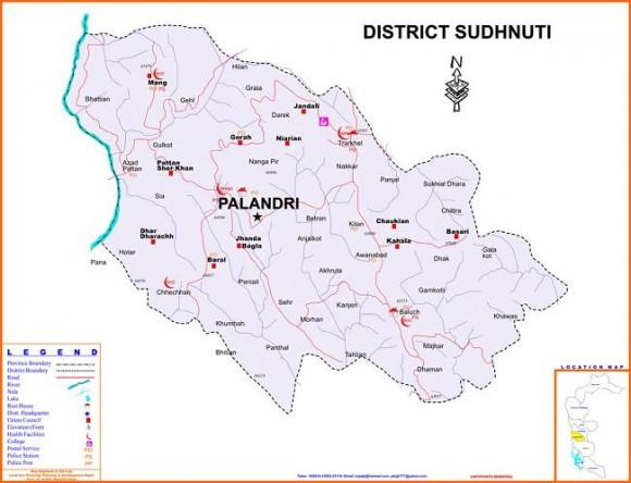 District Sudhnuti Azad kashmir Detail Map