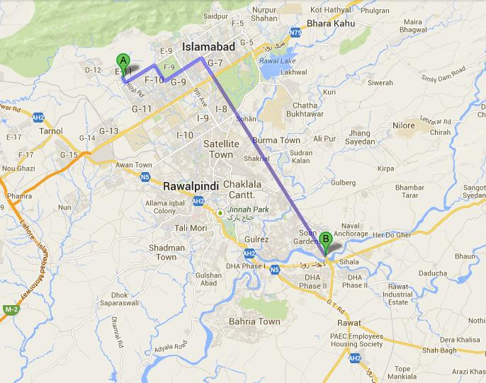 Golra Islamabad to Rawalpindi Swan Adda Route Map