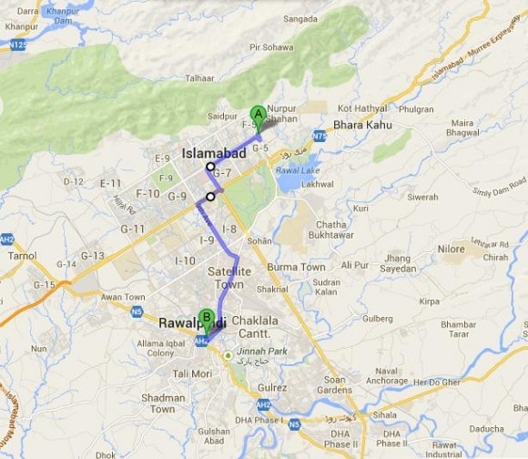 Islamabad Secretariat to Rawalpindi Cantt Route Map