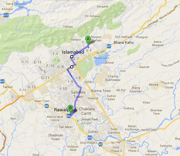 Metro Bus Islamabad: Islamabad Secretariat To Rawalpindi Cantt Route Map