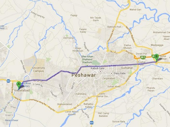 Peshawar Metro Route Map - Hayatabad to Chamkani
