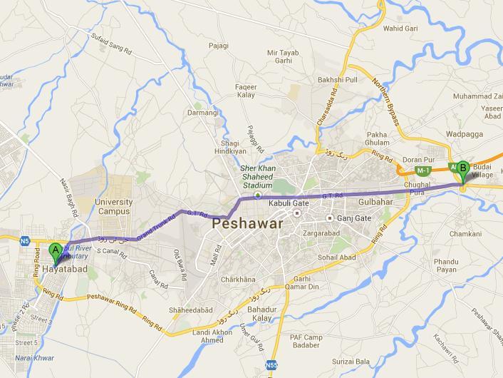 Peshawar Metro Bus Train Route Map Paki Mag