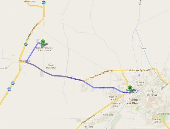 Rahim Yar Khan Cantt Location Map
