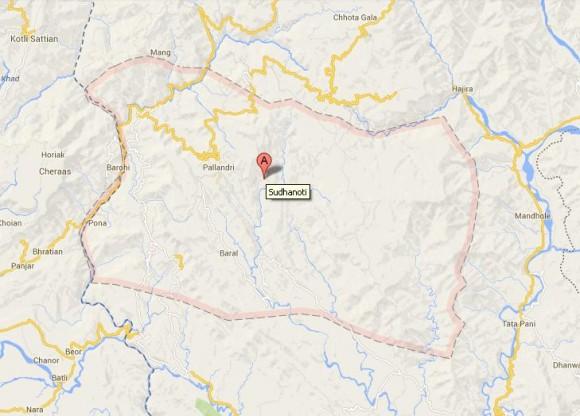 Sudhanoti District AJK Location Map