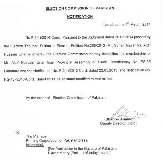 ECP Notification regarding PS-35 Larkana Dated 5-3-2014