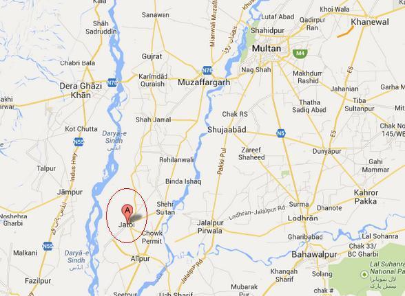 Location Map of Jatoi District Muzaffar Garh