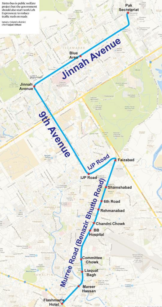Metrobus Rawalpindi-Islamabad Route Map (Final)