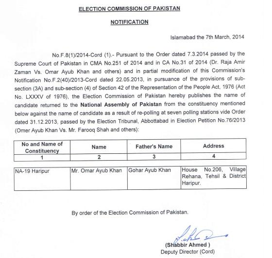 NA-19 Haripur Winner Candidate Notification 7-3-2014