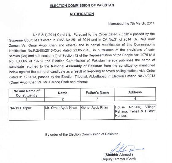 NA-19 Haripur Winner Candidate Notification 7-3-2014