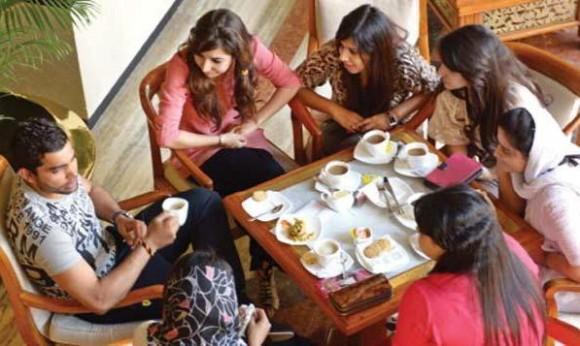 Umar Akmal Pakistani Batsman talking with girls at Dhaka Hotel (8-3-2014)