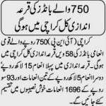 750 prizebond draw tomorrow in Karachi