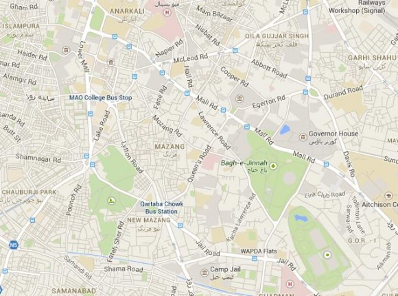 Charring Cross Chowk Mall Raod , Near Punjab Assembly and WAPDA House Lahore Location Map